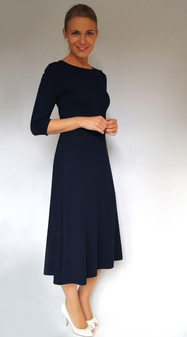 Kleid Marlene In Nachtblau  Maxikleider  Kleider  Mit