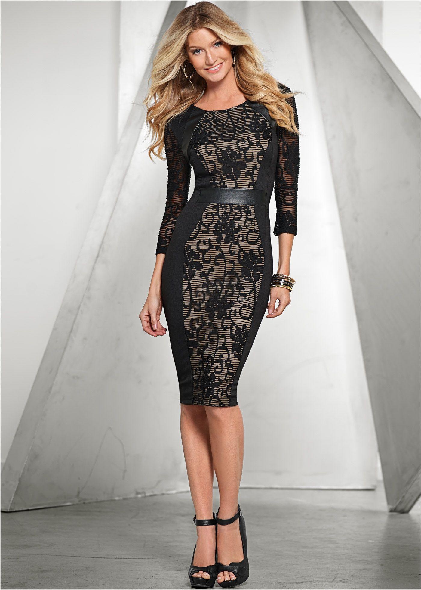 Kleid Mit 3/4Ärmeln Schwarz  Bodyflirt Boutique Jetzt Im