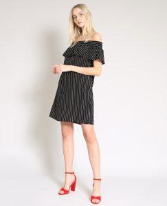 Kleid Mit Bardot Ausschnitt Schwarz  780880899C08  Pimkie