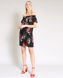 Kleid Mit Bardot Ausschnitt Schwarz  780880899E0A  Pimkie
