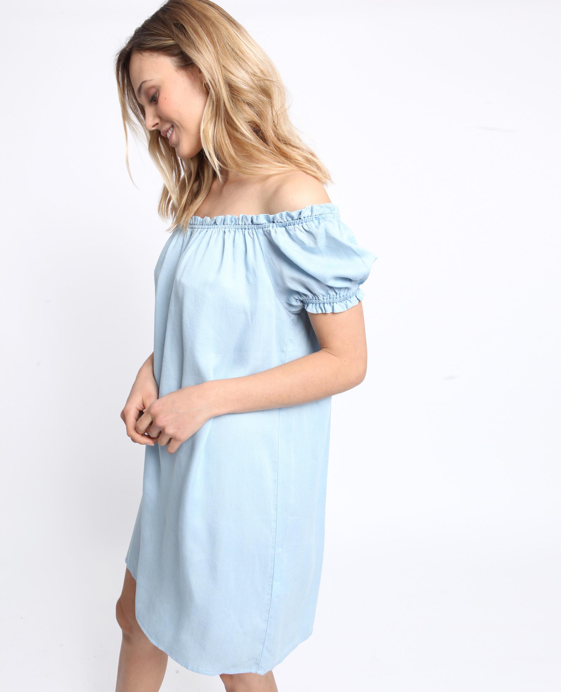 Kleid Mit Bardotausschnitt Hellblau  780988B21A06  Pimkie