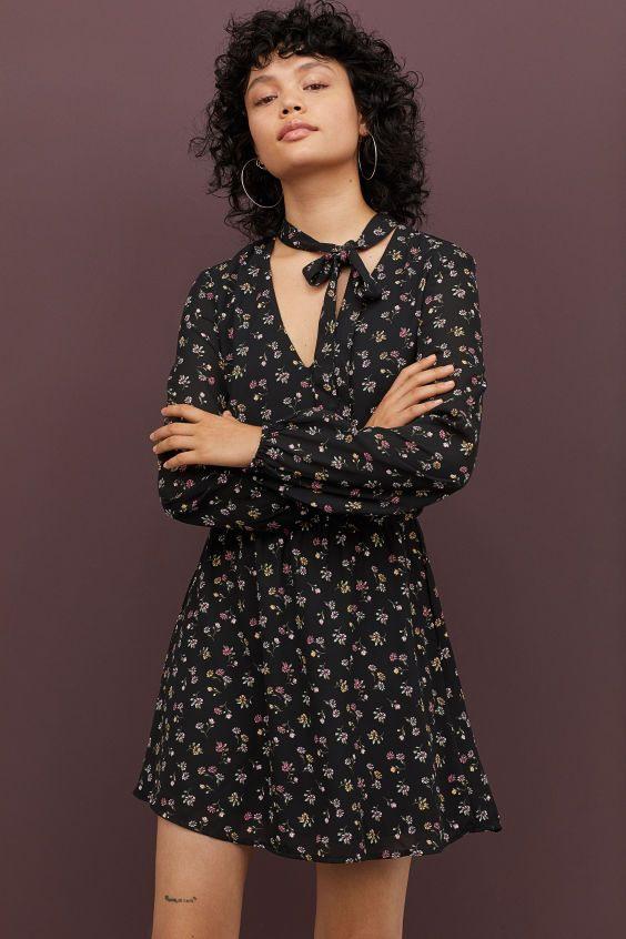 Kleid Mit Bindebändern  Kleider Hm Kleider Und Lange Ärmel
