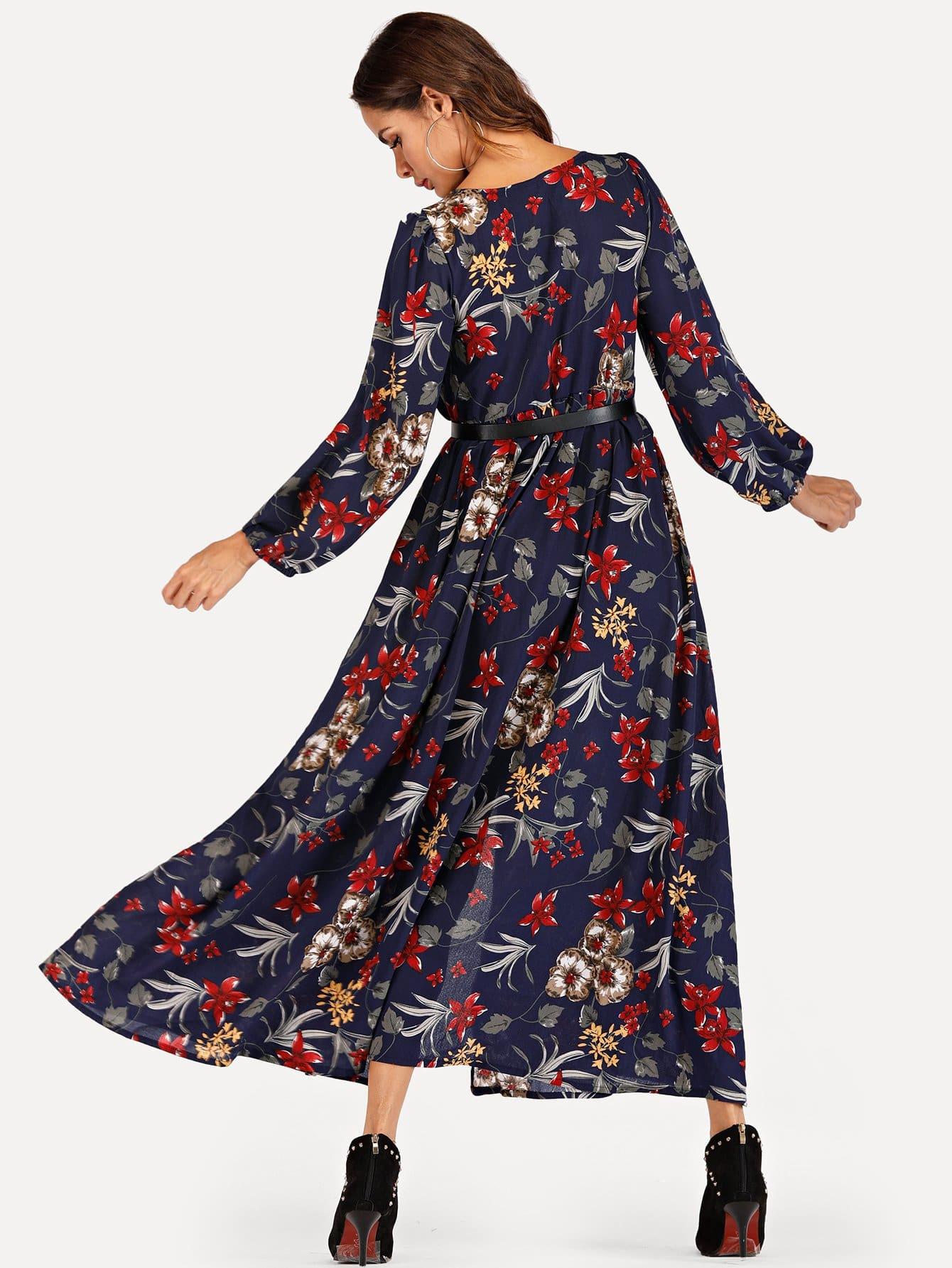 Kleid Mit Blumenmuster Und Einreihig  Shein