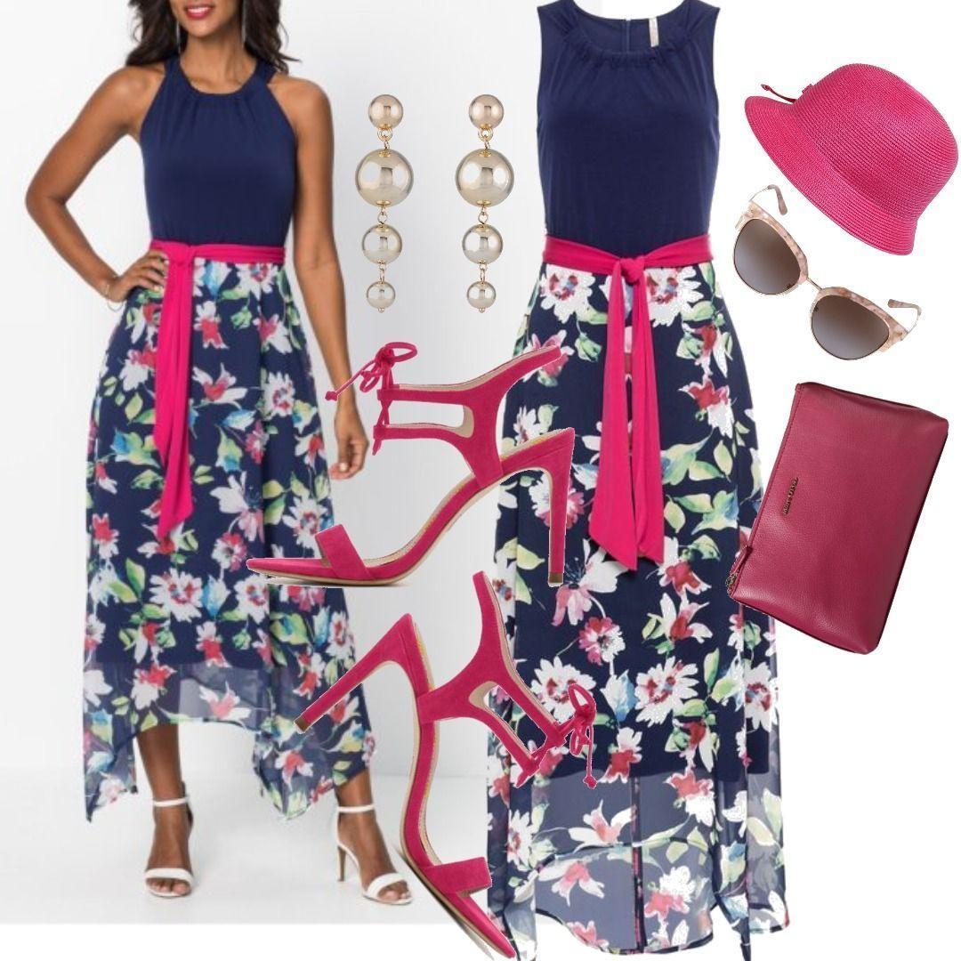 Kleid Mit Blumenprint Ohne Ärmel In Blau Für Damen Zum