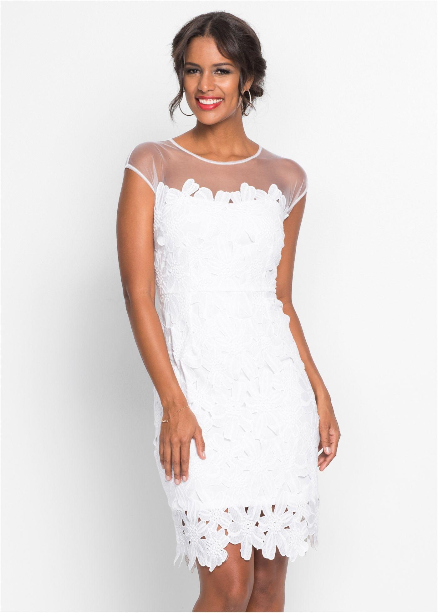 Kleid Mit Blumenspitze Weiß  Damen  Bonprixde  Kleider