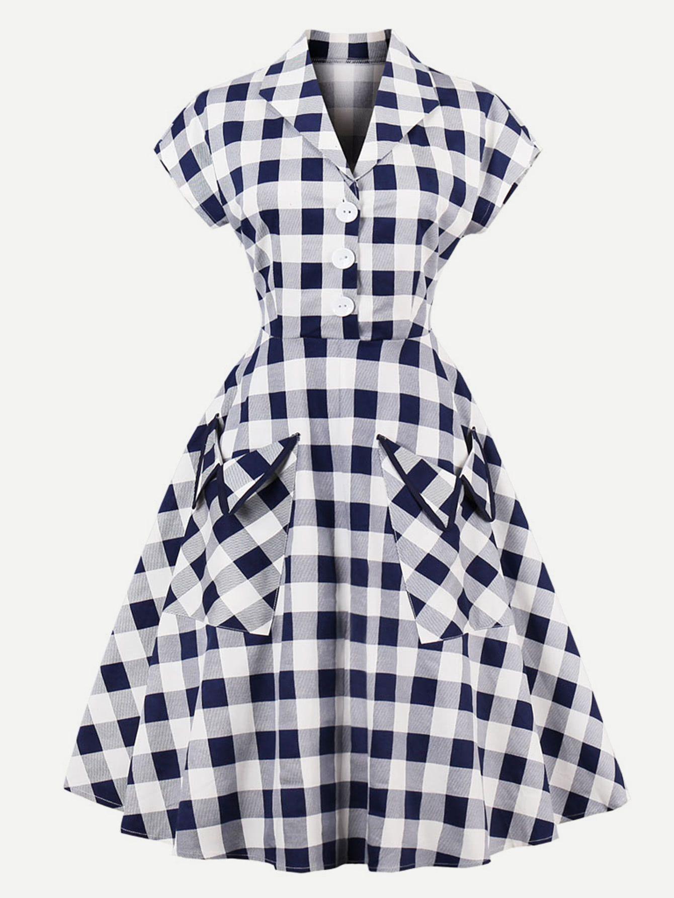 Kleid Mit Buffalo Check Und Tasche In 2020  Kleidung
