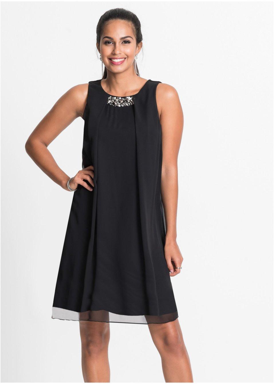 Kleid Mit Chiffonüberwurf Und Applikationen Schwarz