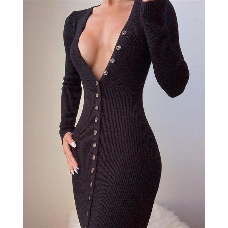 Kleid Mit Durchgehender Knopfleiste Vorne  Extremfashion