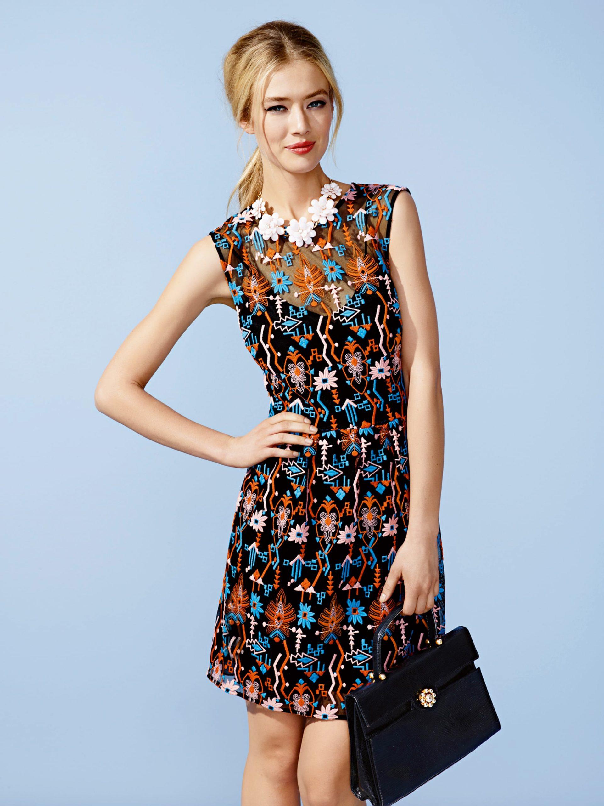 Kleid Mit Eingesticktem Ethnomuster  Fashion Id Online Shop