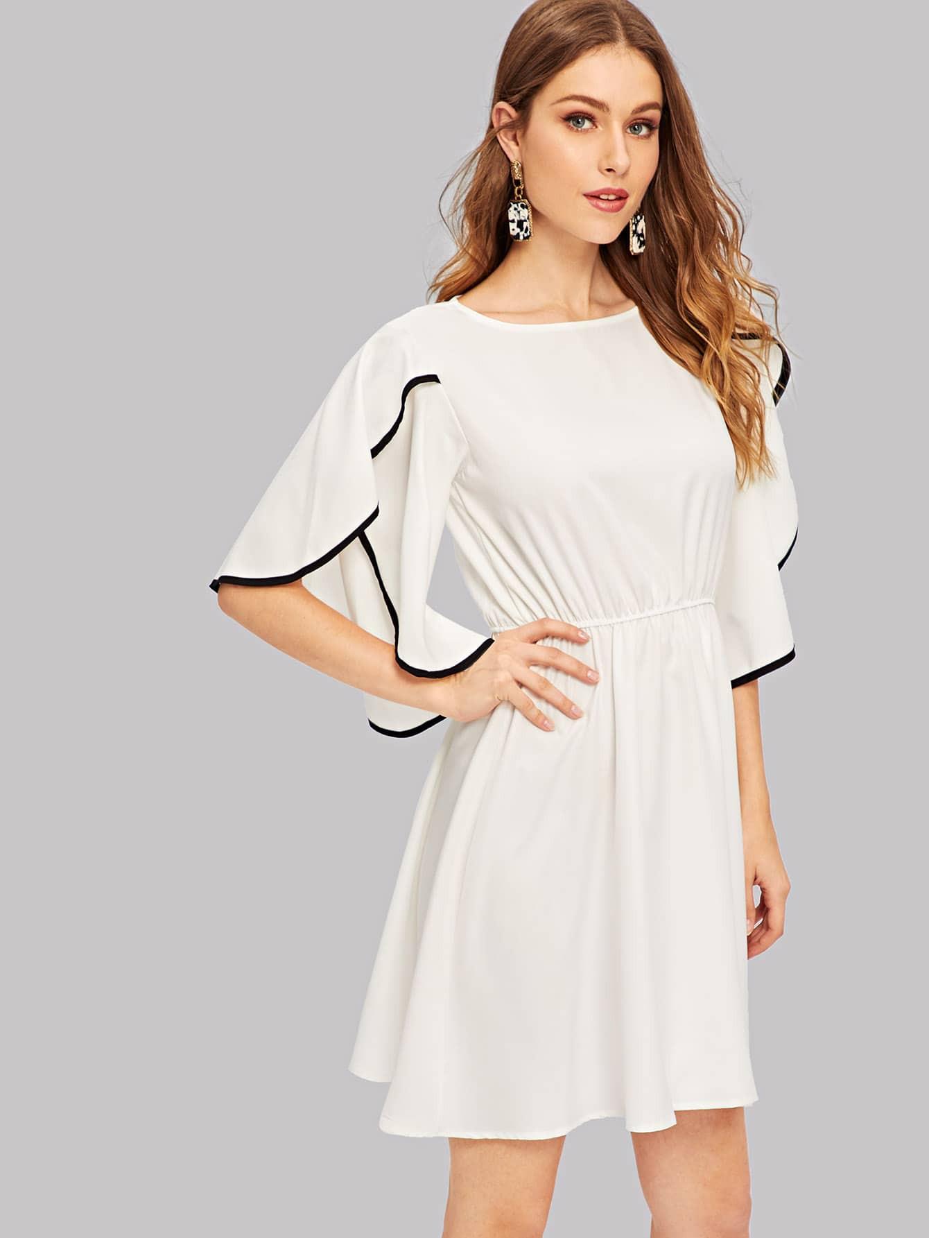 Kleid Mit Flatterärmel  Shein