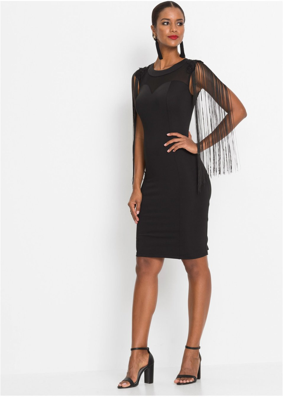 Kleid Mit Fransen Schwarz  Bodyflirt Boutique Online