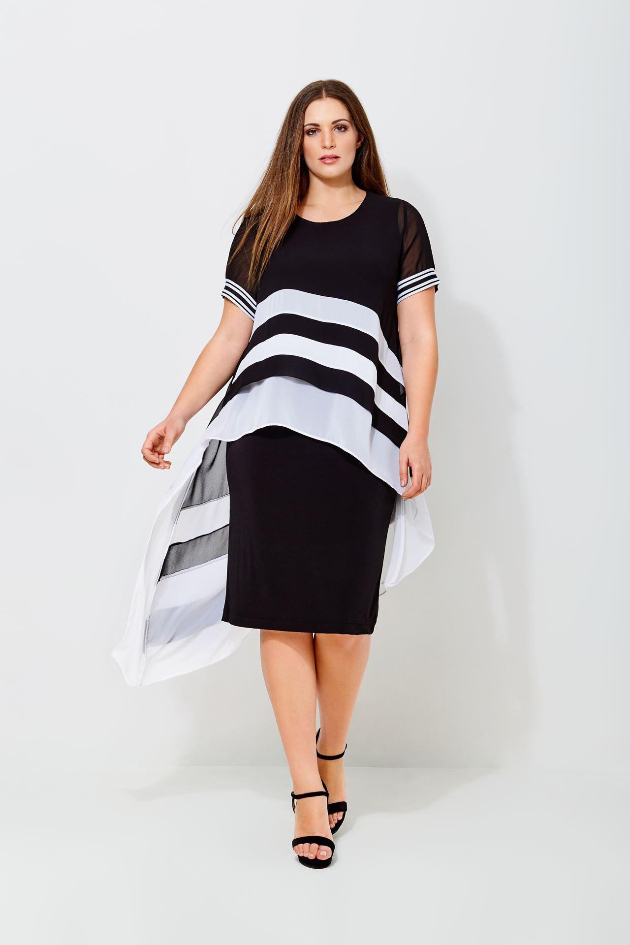 Kleid Mit Gestreiftem Chiffonoverlay Curvyfashion
