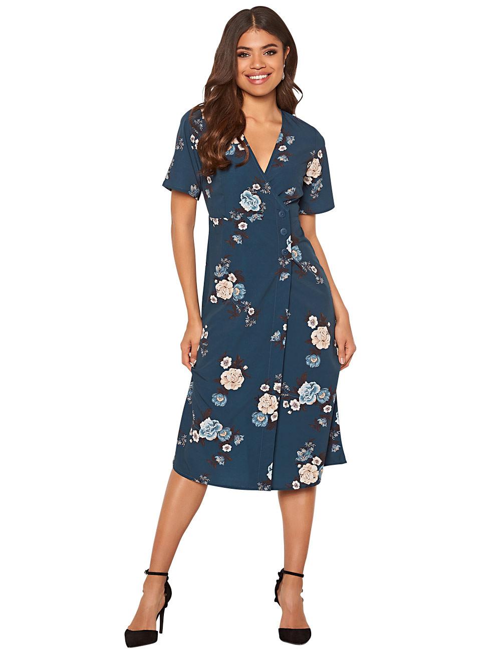Kleid Mit Knöpfen Happy Holly Petrol/Bedruckt