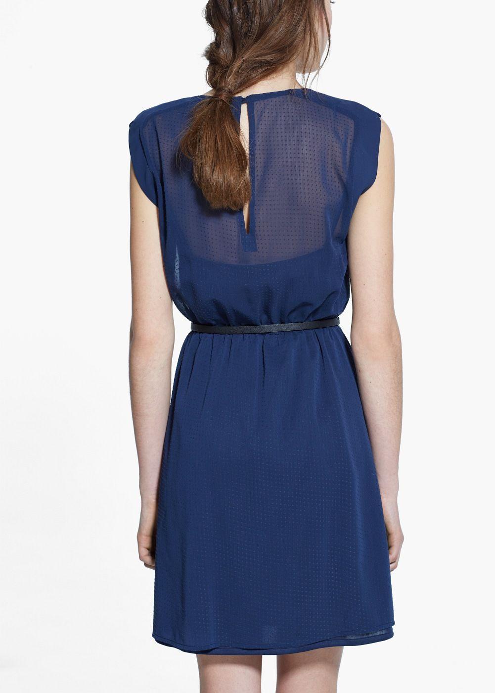 Kleid Mit Kontrastgürtel  Damen  Kleid Mit Gürtel
