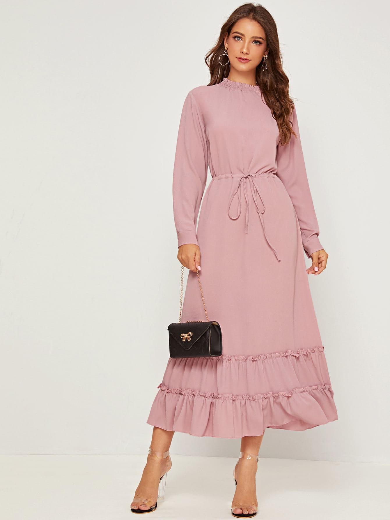 Kleid Mit Kordelzug Um Die Taille Und Raffung  Shein