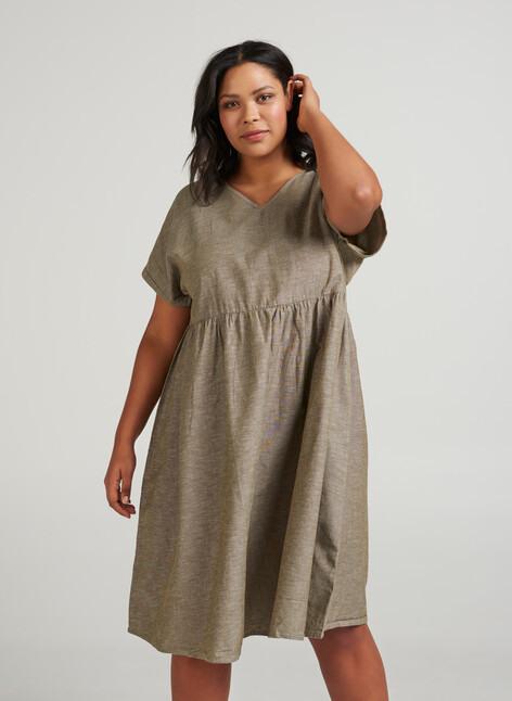 Kleid Mit Kurzen Ärmeln  Grün  Str 4256  Zizzide