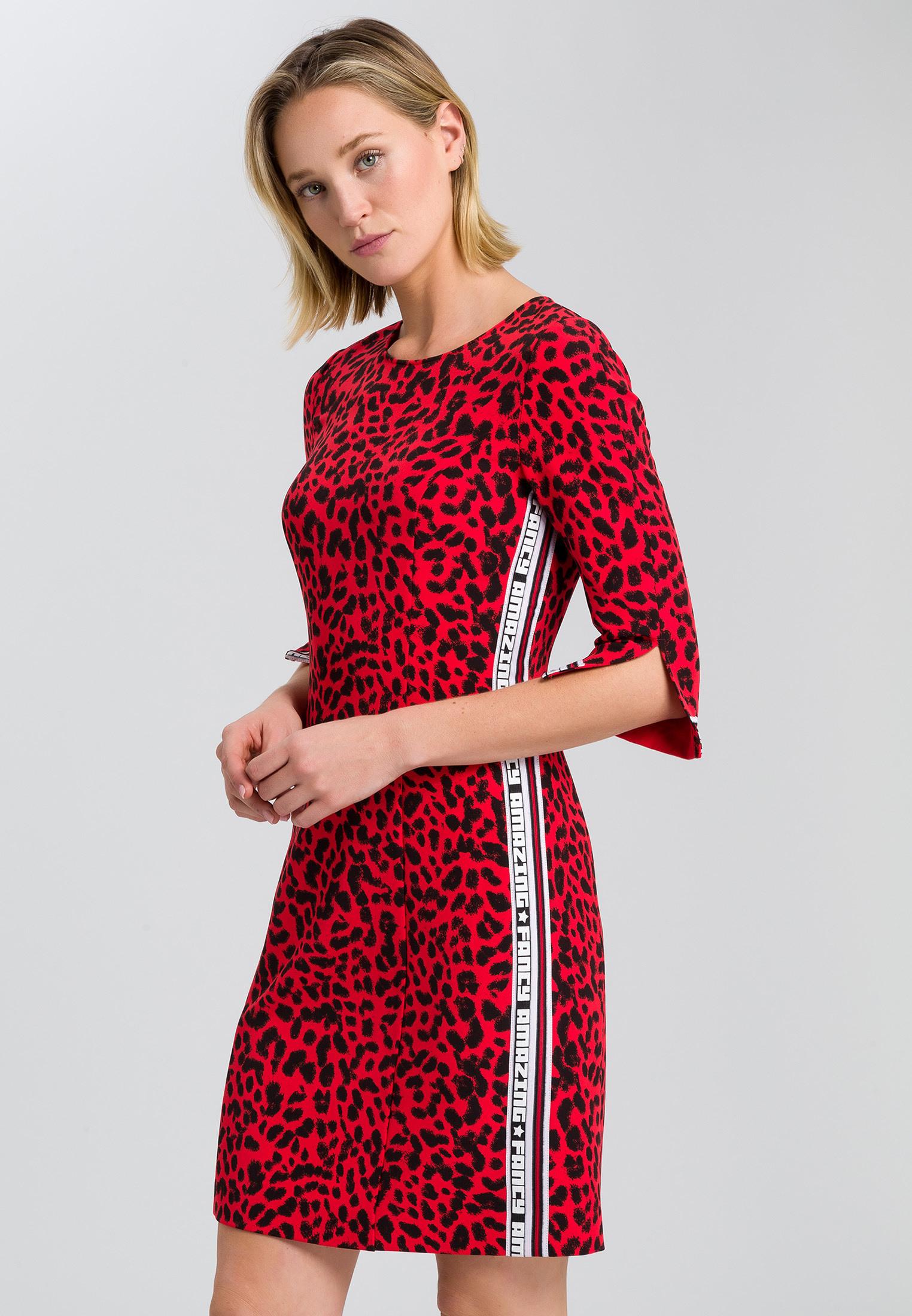 Kleid Mit Leopardendruck Mit Schriftband  Kleider