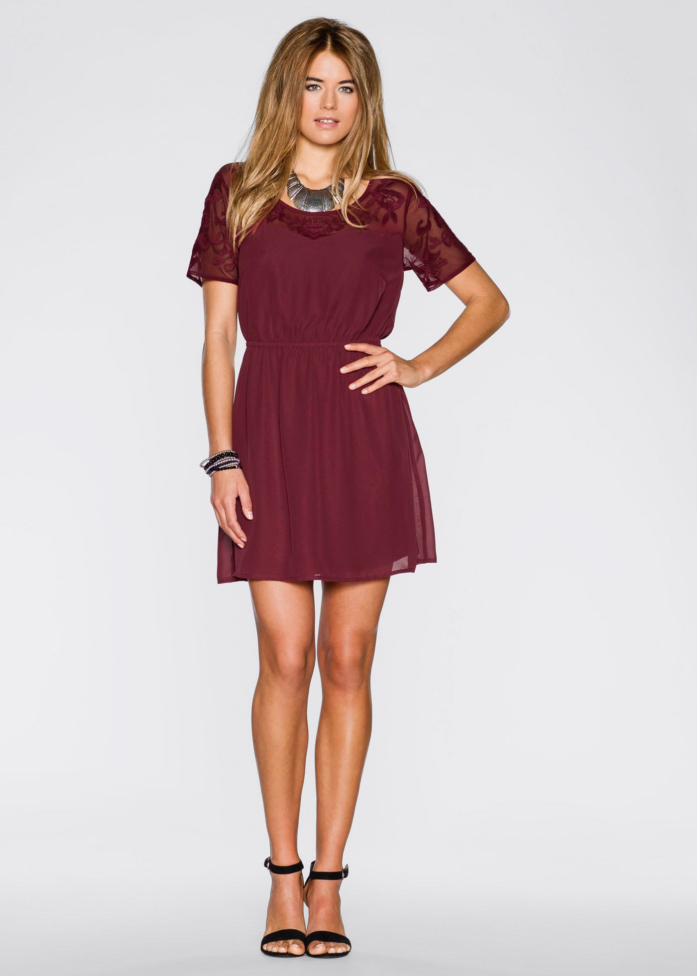 Kleid Mit Netzeinsatz Bordeaux  Rainbow Jetzt Im Online