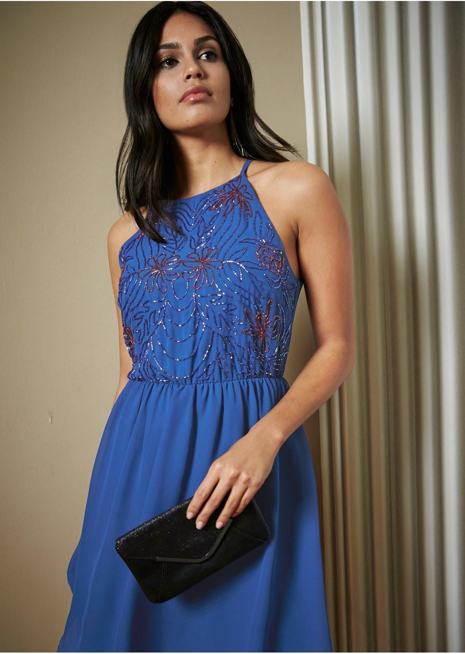 Kleid Mit Perlenstickerei Royal Blau  Bodyflirt  Bonprixde