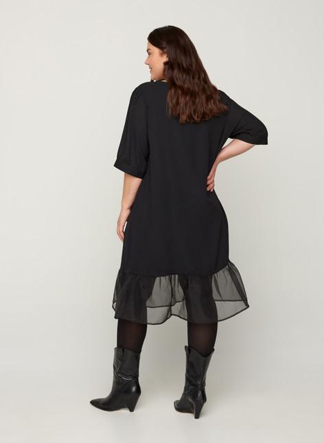 Kleid Mit Puffärmeln  Schwarz  Str 4258  Zizzide