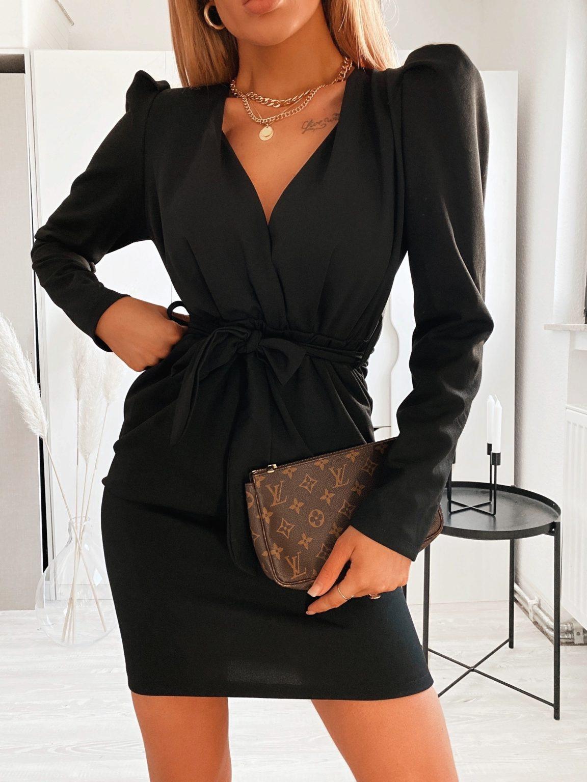 Kleid Mit Puffärmeln Und Gürtel  Mónage Fashion Store