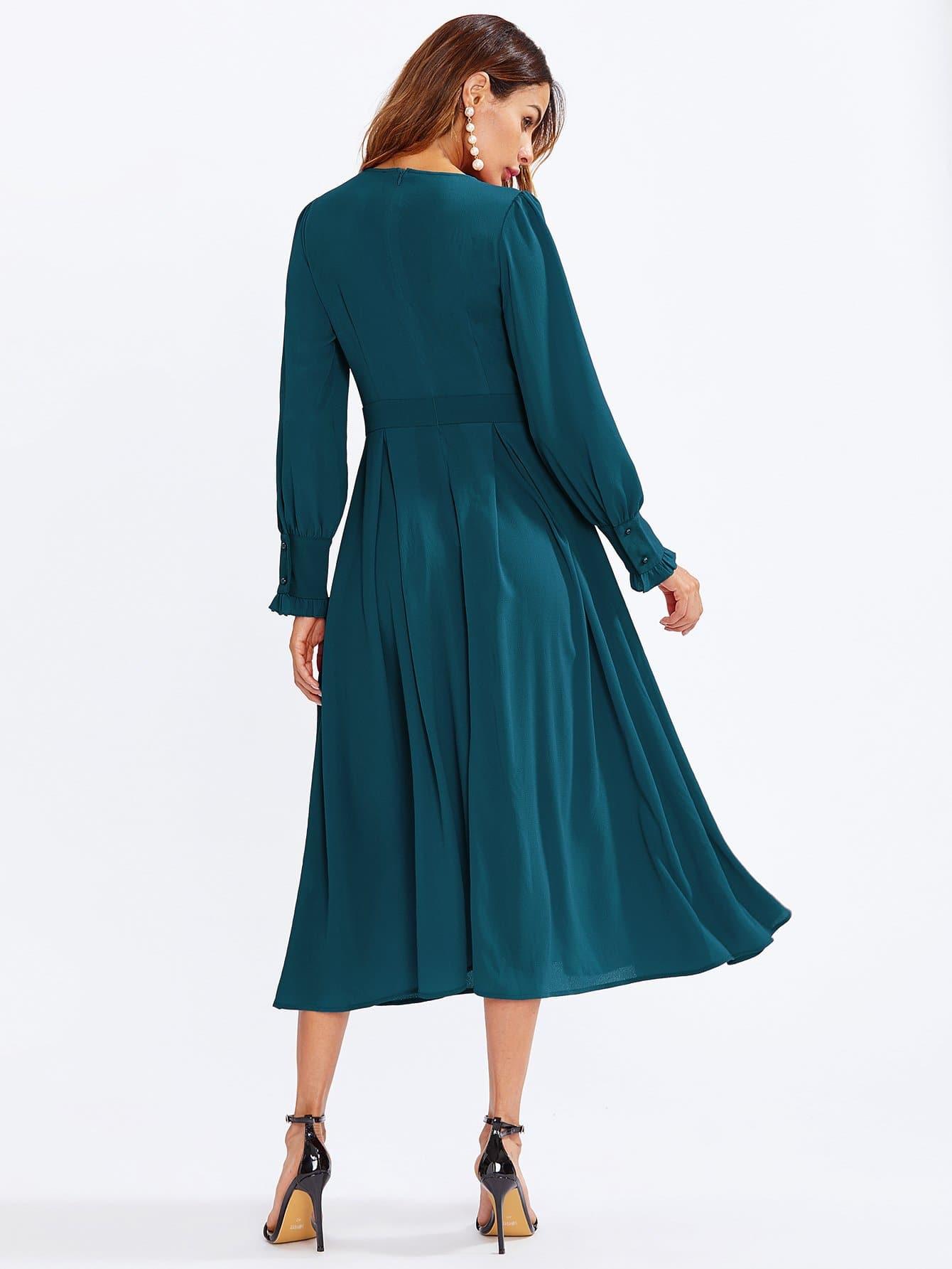 Kleid Mit Raffung Und Plisseefalten  Shein