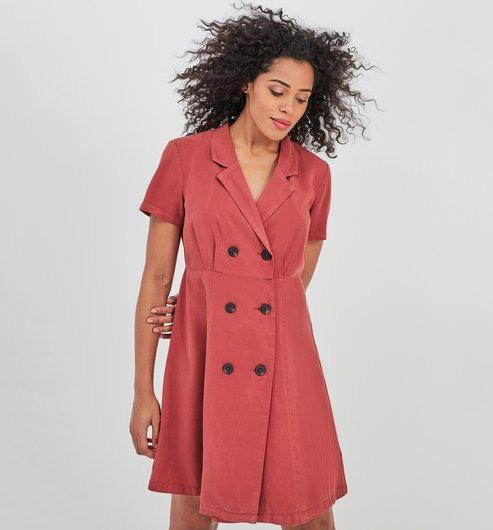 Kleid Mit Reverskragen  Dunkelbraun  Damen  Kleider