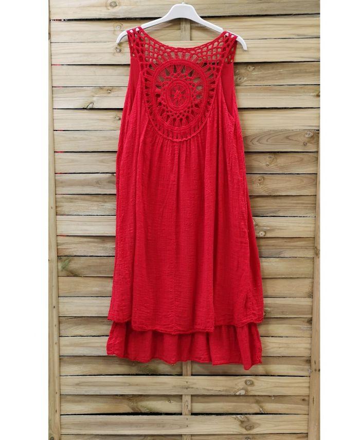 Kleid Mit Rücken Stickerei 0762 Rot  Wwwgrossistepreta