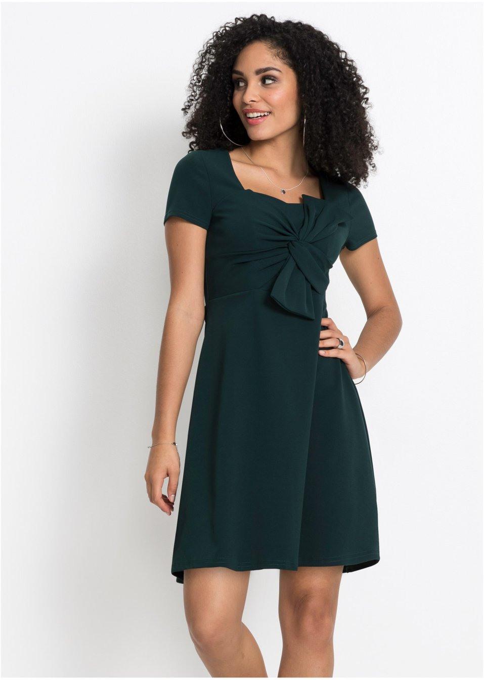 Kleid Mit Schleife Blaupetrol  Damen  Bonprixde