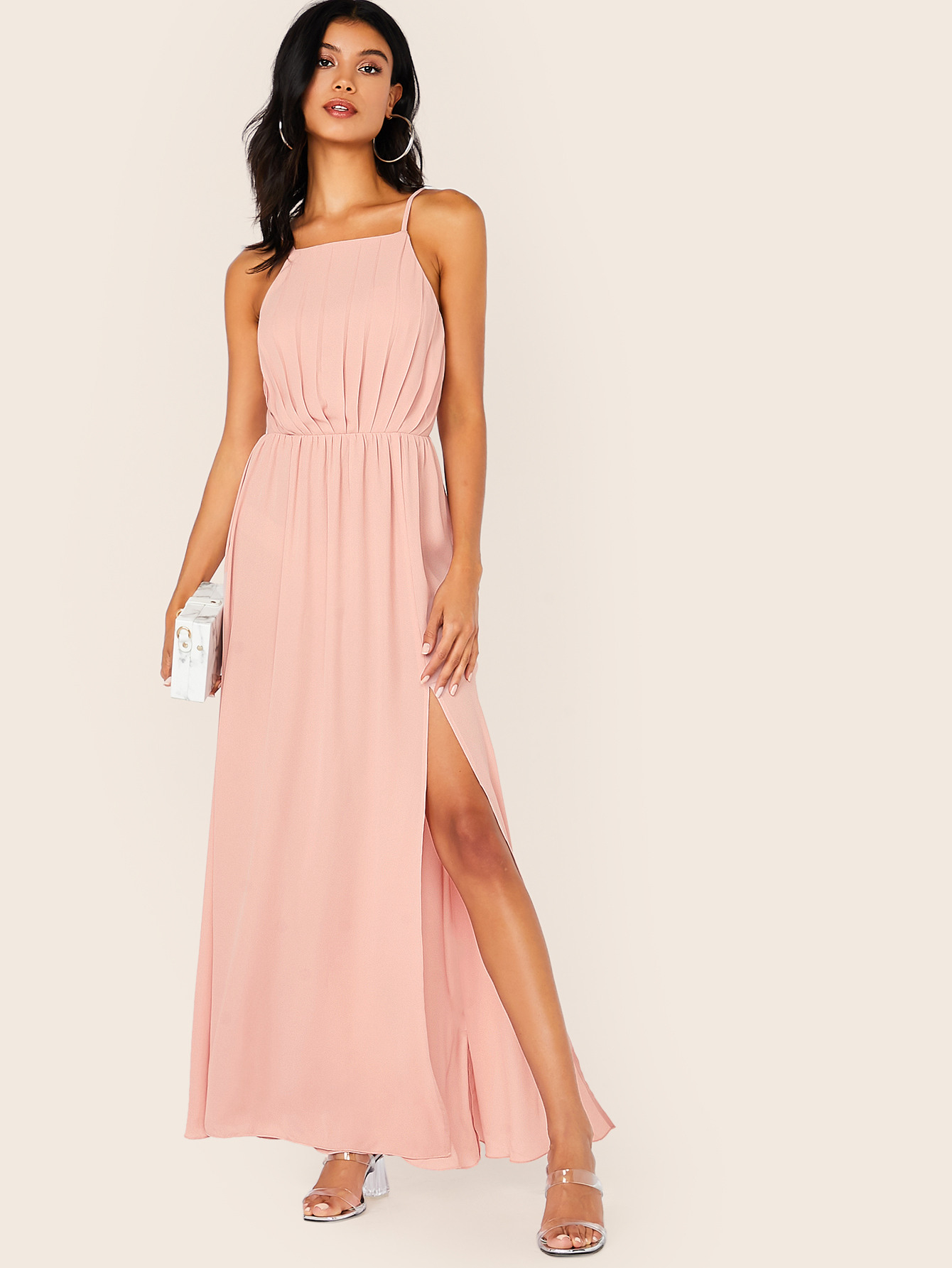 Kleid Mit Schlitz Und Plissee  Shein