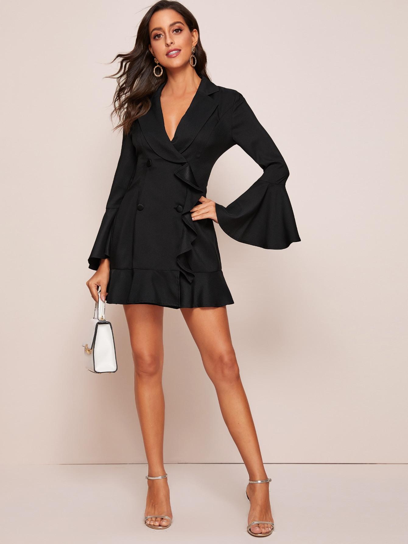 Kleid Mit Schößchen Auf Den Ärmeln Und Raffung  Shein