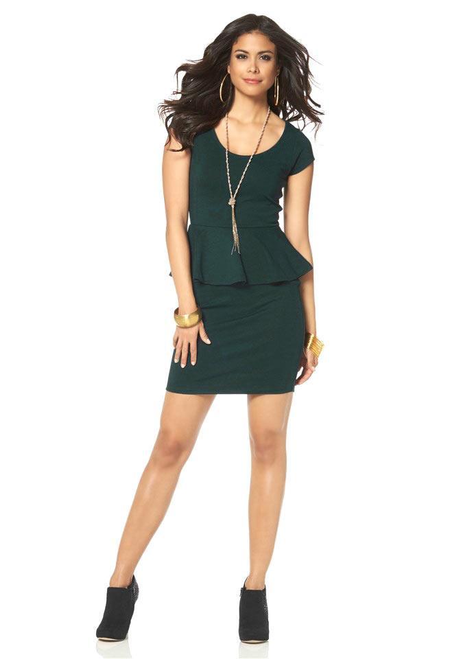 Kleid Mit Schößchen Petrol Gr 38  Kleider  Outlet Modeshop