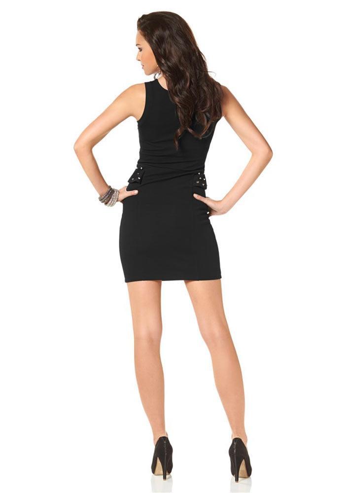 Kleid Mit Schößchen Und Nieten Schwarz Gr 38  Kleider