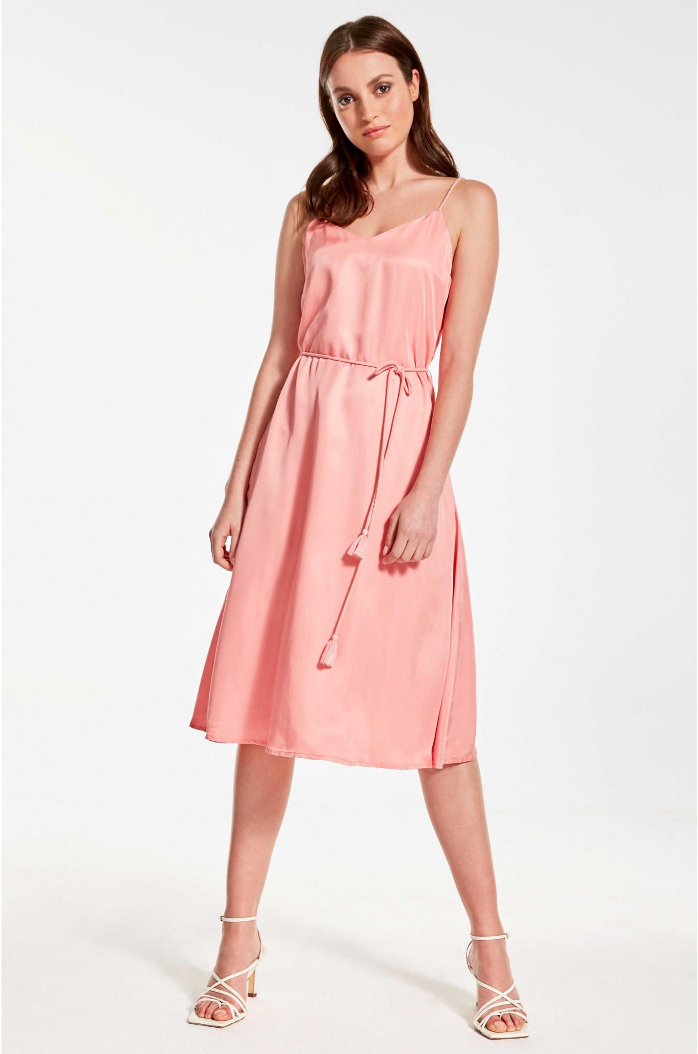 Kleid Mit Spaghettiträgern In Strahlendem Rosé  Kala Fashion