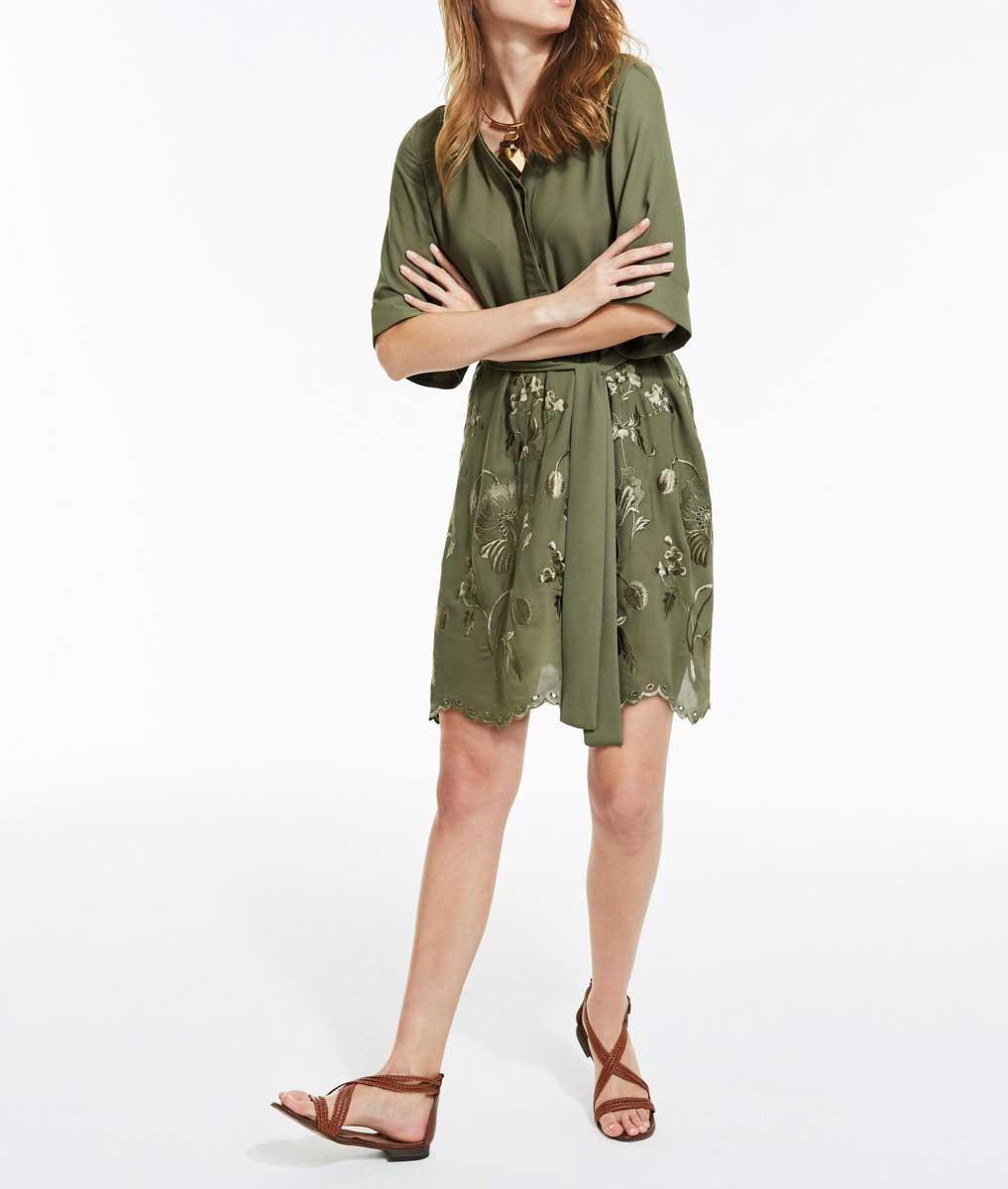 Kleid Mit Stickerei Oliv  Kleider  Outlet Modeshop