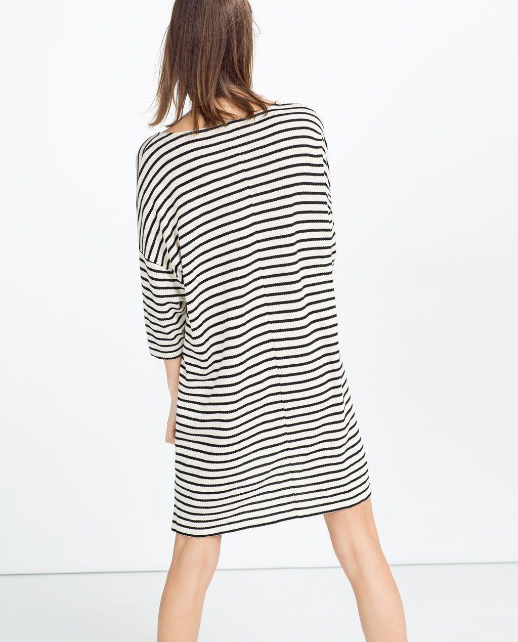 Kleid Mit Streifenmidikleiderdamen  Zara Deutschland