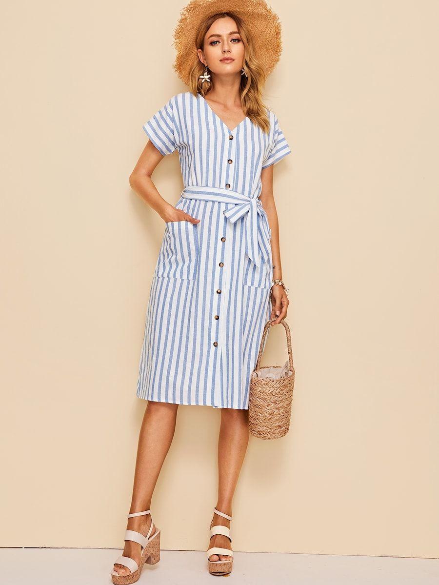 Kleid Mit Tasche Vorn Knöpfen Und Streifen  Shein