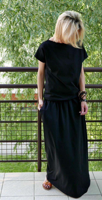 Kleid Mit Taschen Maxi Länge Dieses Mal Mit Kurzen Ärmeln