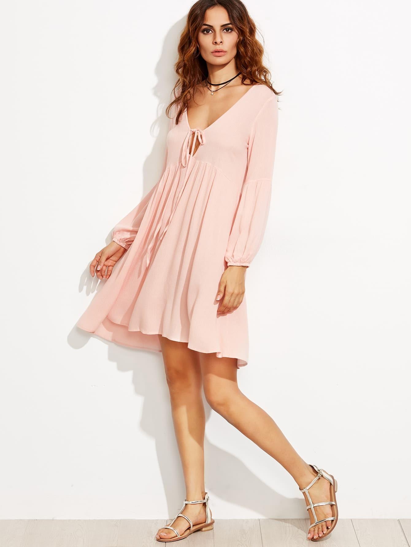 Kleid Mit Tiefem Vausschnitt  Rosa  Shein