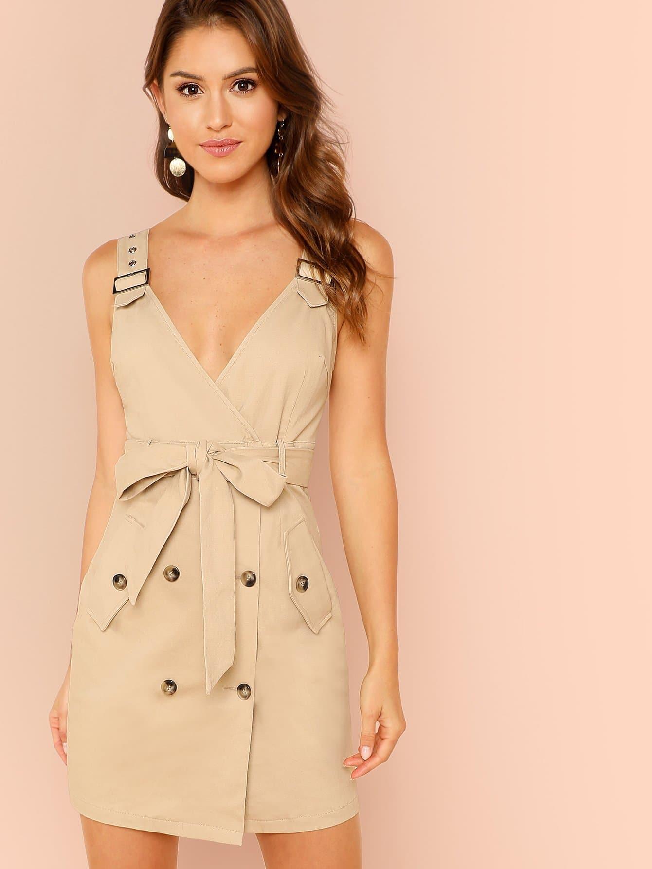 Kleid Mit Träger Und Gürtel  Shein