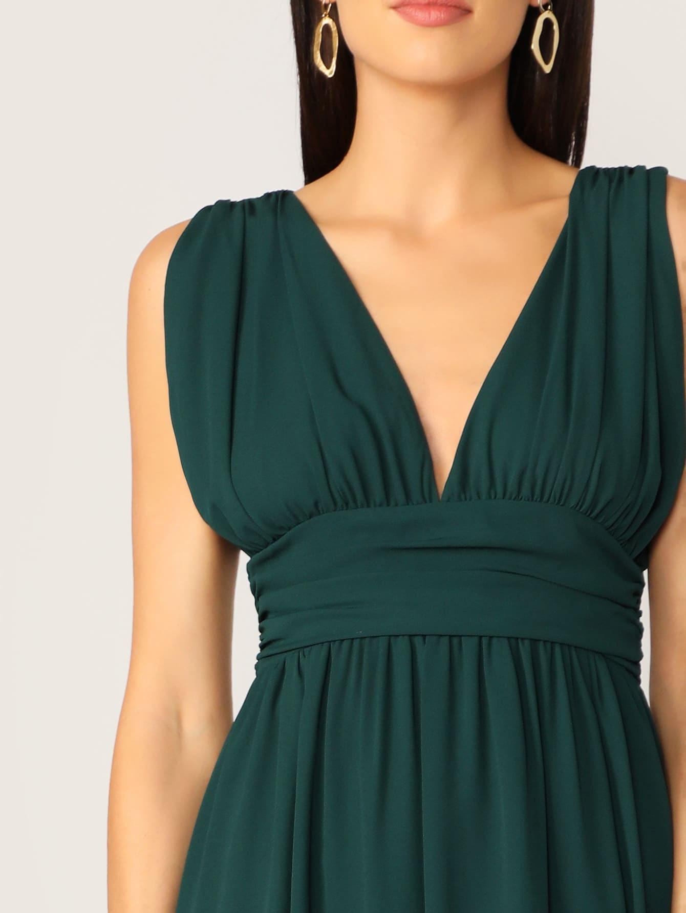 Kleid Mit V Ausschnitt Reißverscluss Hinten Und Hohem