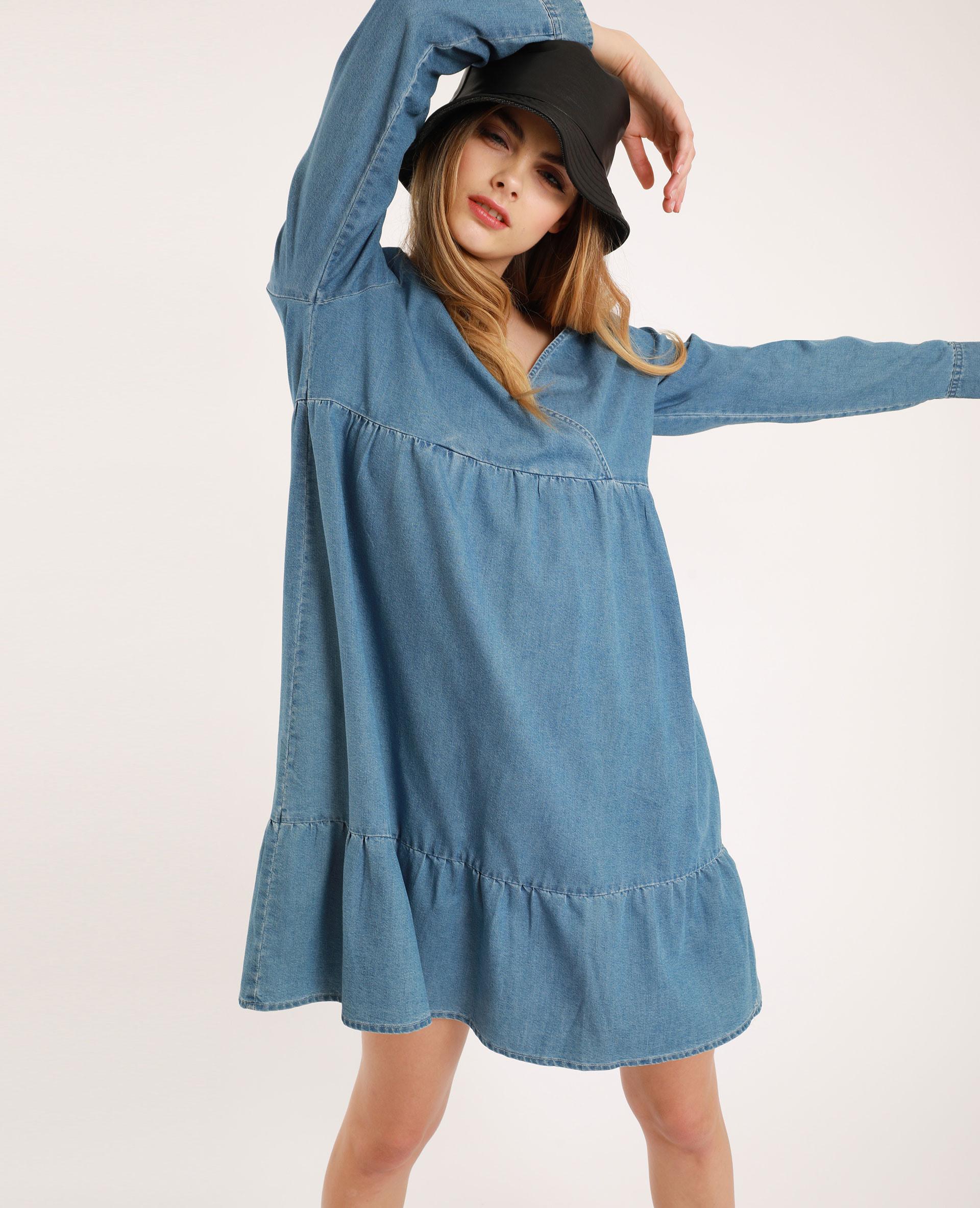 Kleid Mit Vausschnitt Blau 20  781387608A06  Pimkie