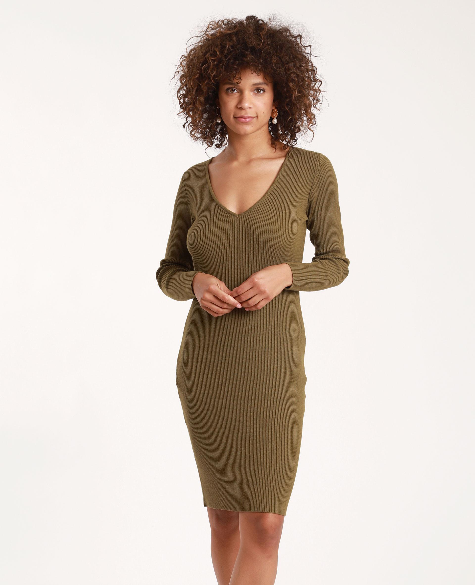 Kleid Mit Vausschnitt Khaki  781369C03A05  Pimkie