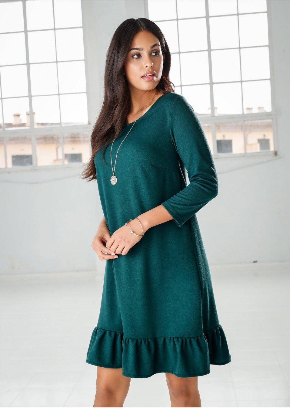 Kleid Mit Volant Tiefgrün  Bodyflirt Online Bestellen