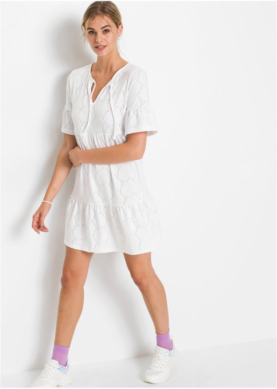 Kleid Mit Volant Weiß  Damen  Rainbow  Bonprixde