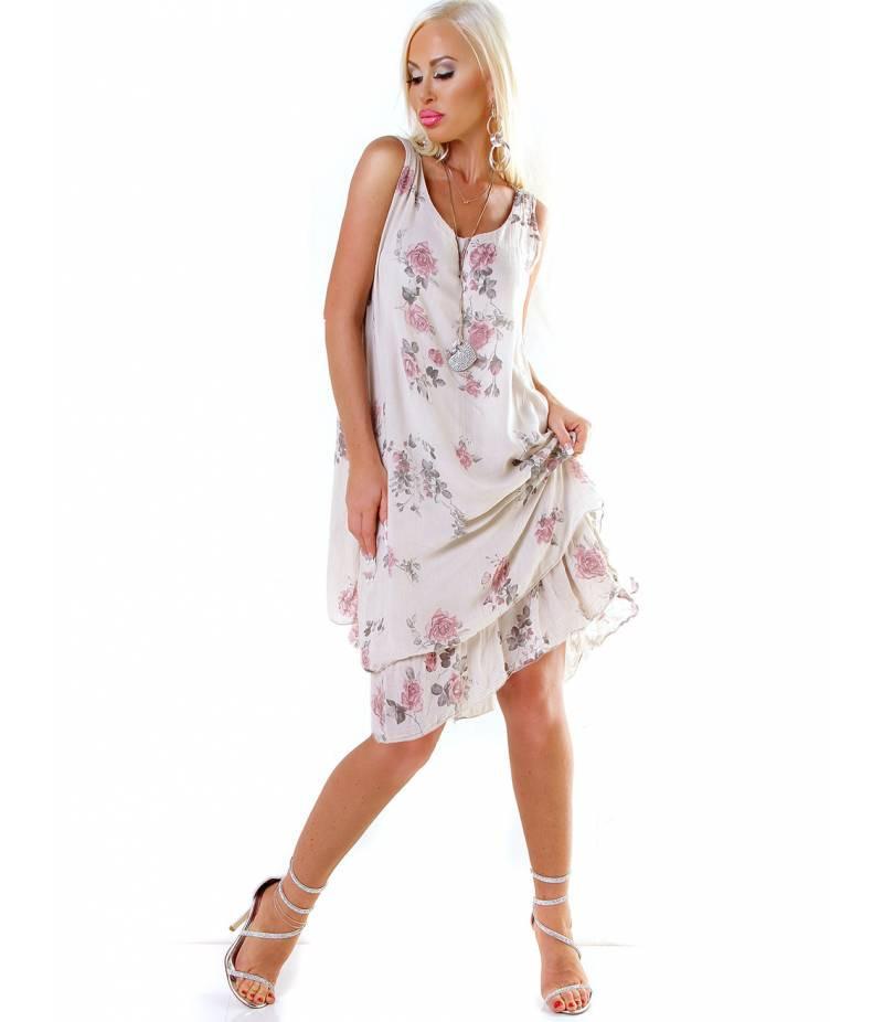Kleid Moda  Lagenlook  Beige All Dresses