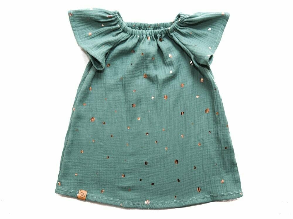 Kleid  Musselin  Mintgold