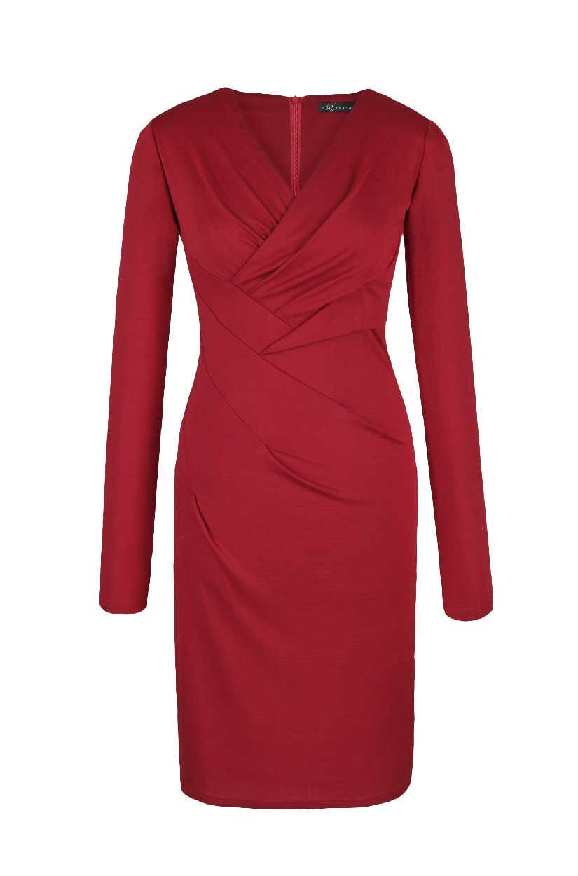 Kleid Nicole Von Kala Fashion Dunkelrotes Jerseykleid