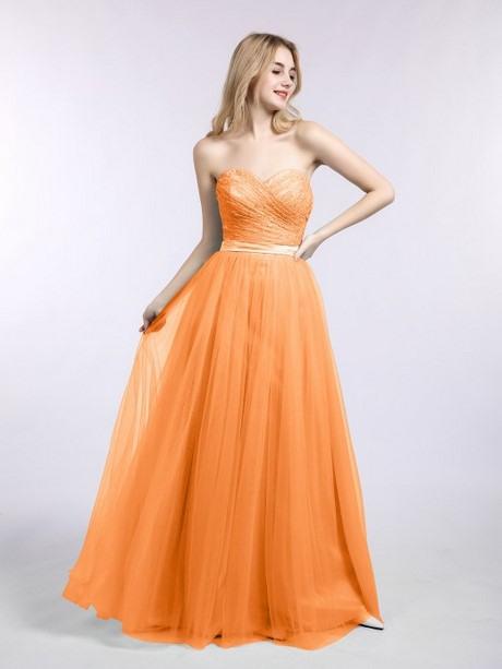Kleid Orange Lang