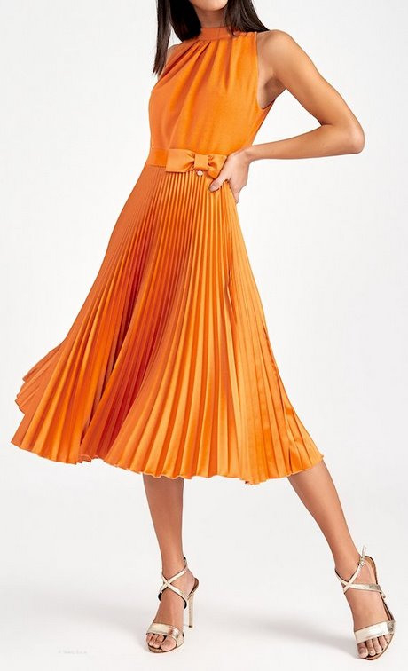 Kleid Orange Rot Abendkleid
